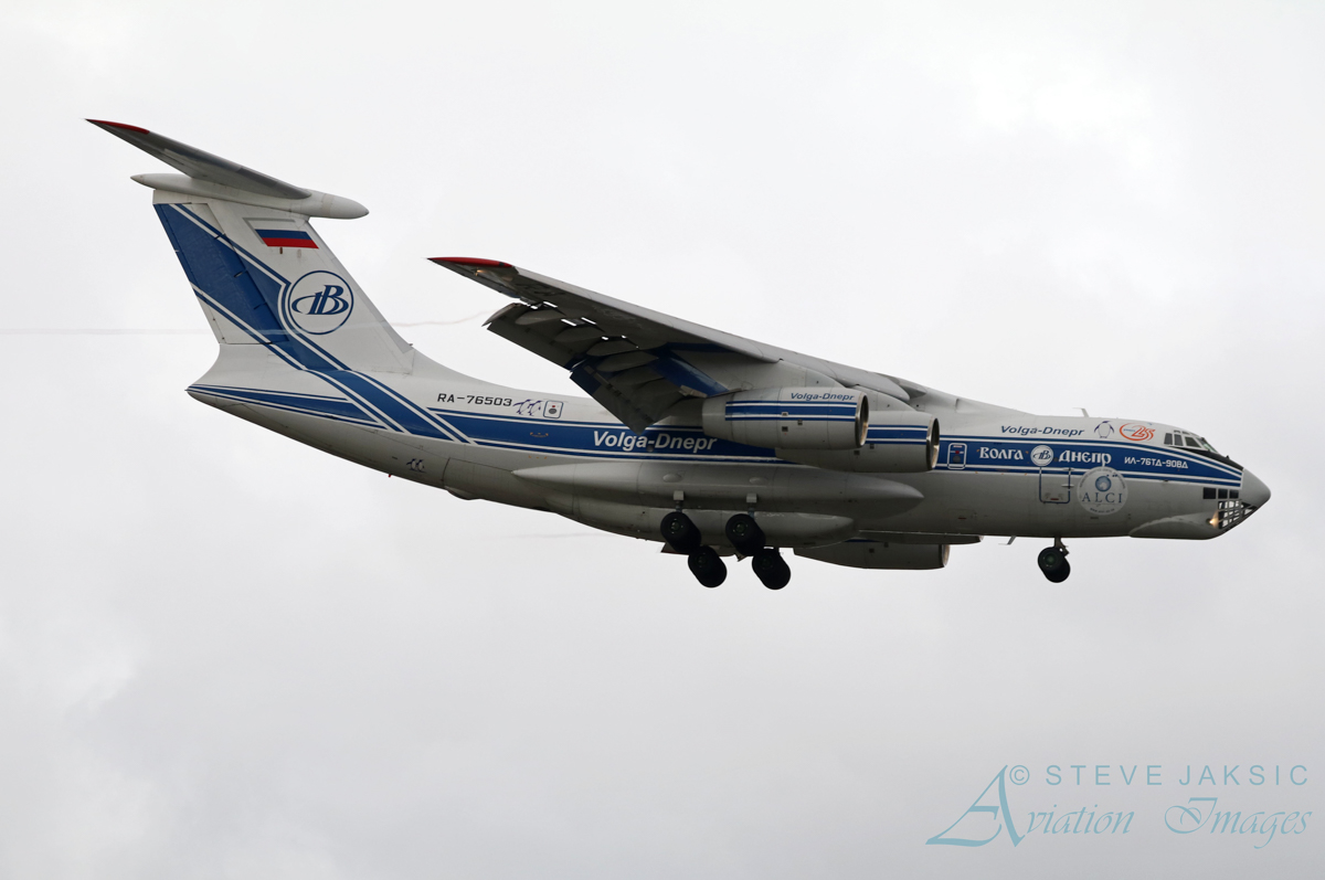 RA-76503 Ilyushin Il-76TD-90VD (cn 2113422748 / line no. 94-07) of Volga-Dnepr Airlines at Perth Airport – Sun 3 July 2016. Wears Antarctic Logistics Centre International logo and two penguins. On final approach to runway 21 at 1:16pm as flight VI4900 from Jakarta-Halim. RA-76503 was originally rolled out of the factory in Tashkent, Uzbekistan, on 30 September 2011, and made its first flight on 15 October 2011. It first visited Perth in May and July 2013. Photo © Steve Jaksic