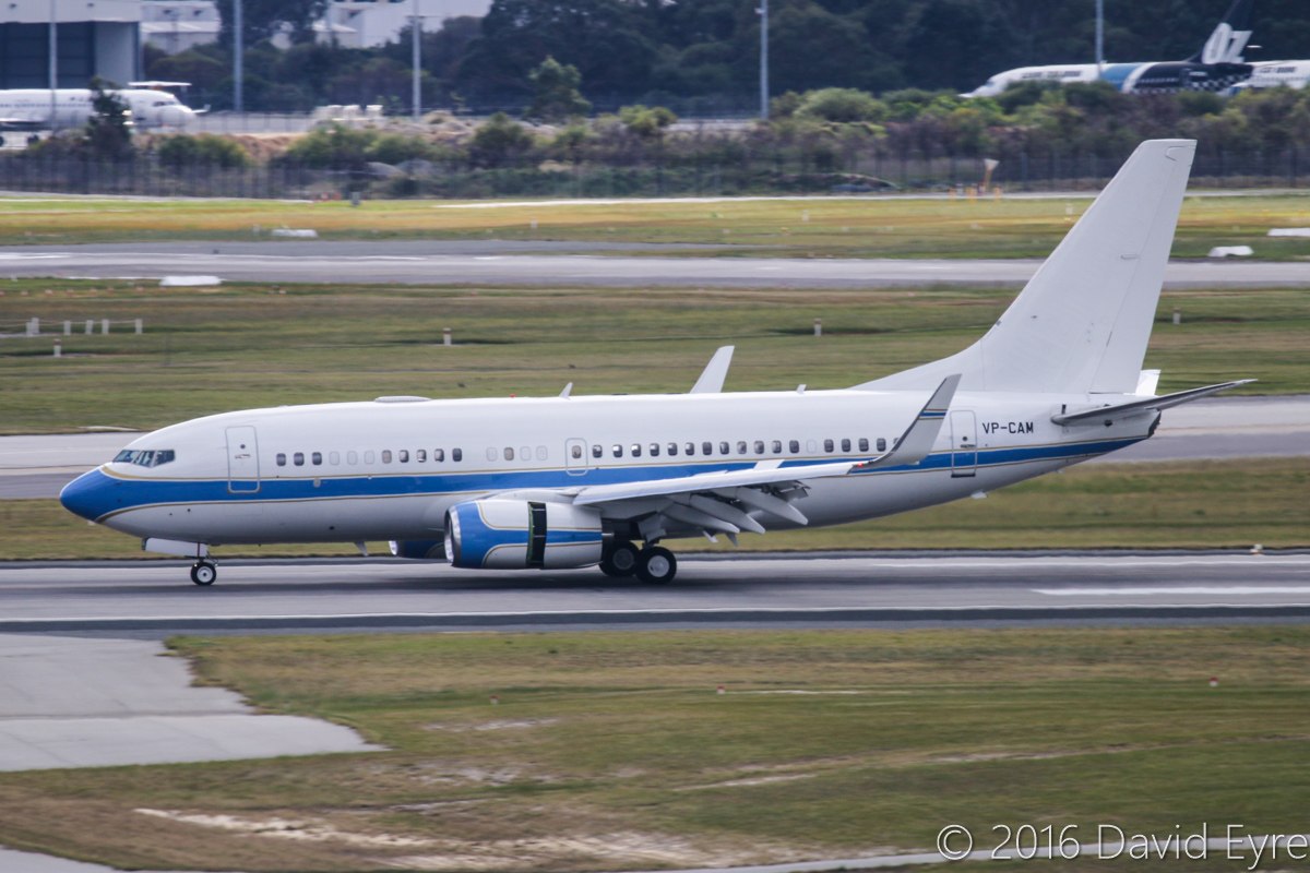 VP-CAM Boeing 737-7KK BBJ (MSN 38608/3208) of My Jet Asia at Perth Airport – 3 July 2016. First visit to Perth. Landing on runway 24 at 12:41pm, arriving from Sydney. The aircraft departed to Melbourne on 4 July 2016 and then Hong Kong on 6 July 2016. It is normally based at Seletar, Singapore. Built in 2010, ex N1796B, N382BJ, VP-CAE. Photo © David Eyre