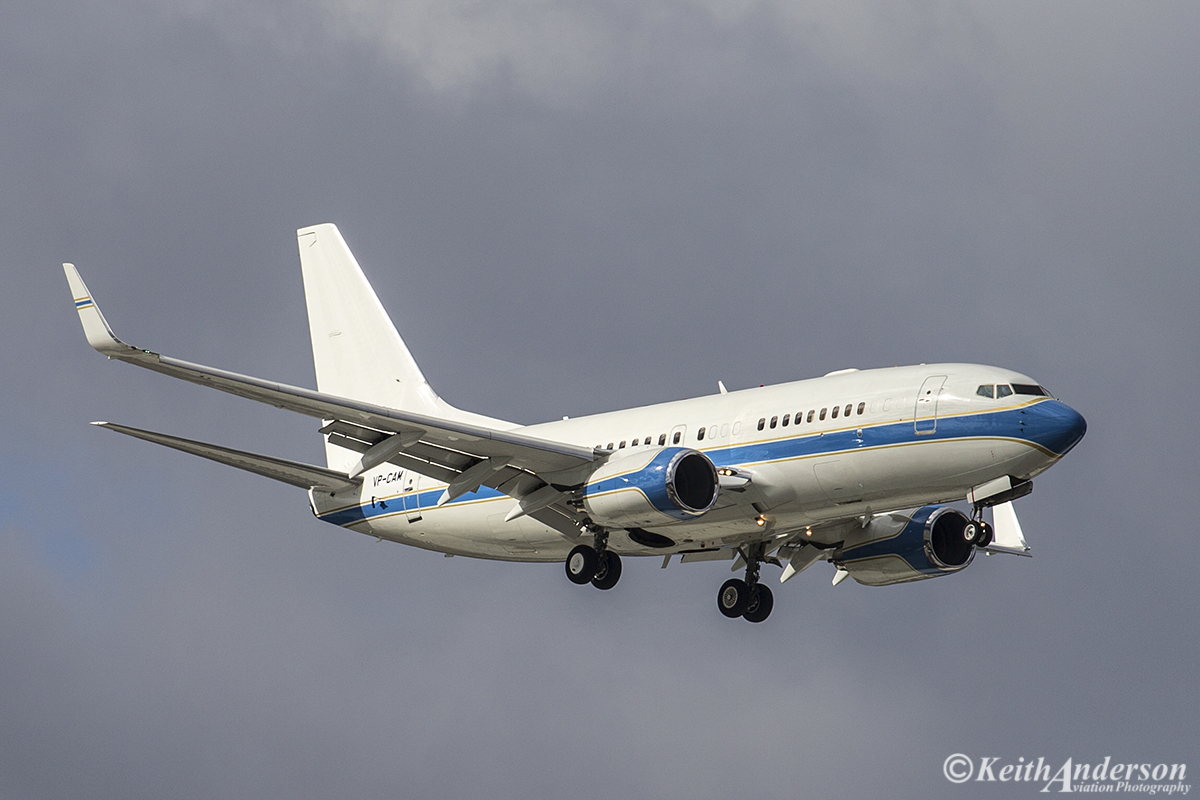 VP-CAM Boeing 737-7KK BBJ (MSN 38608) of My Jet Asia at Perth Airport – 3 July 2016. First visit to Perth. On short finals for runway 024 at 12:37 pm Photo © Keith Anderson (Photographed using Canon cameras and lenses)