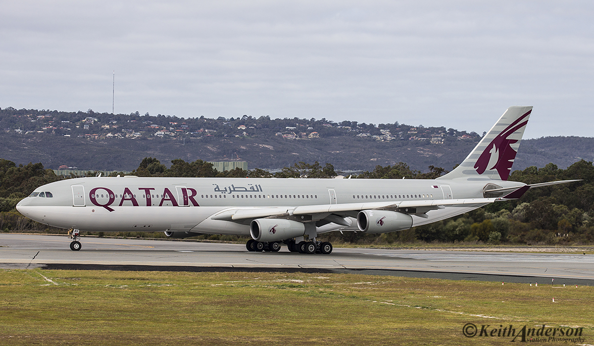 A7-AAH Airbus A340-313X (MSN 528) of State of Qatar Amari Flight at Perth Airport – 13 July 2016.