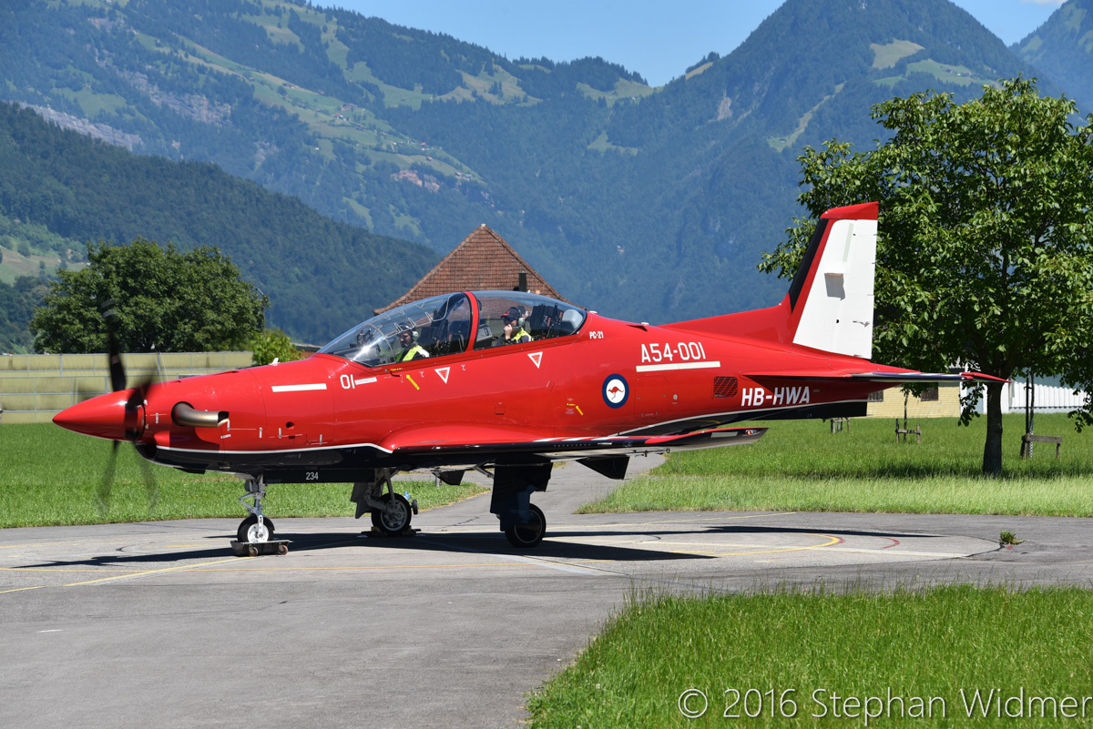 A54-001 / HB-HWA Pilatus PC-21 (MSN 234) of the Royal Australian Air Force, at Stans, Switzerland - Tue 19 July 2016. Undergoing first engine runs, prior to the first flight two days later. Photo © Stephan Widmer