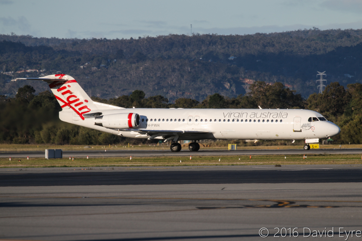 VH-FWH Fokker 100 (MSN 11316) of Virgin Australia Regional Airlines, named 'Swan River', at Perth Airport - Mon 18 July 2016. Flight VA2657 to Geraldton, taking off from runway 21 at 4:25pm. This aircraft was acquired from Alliance Airlines. Photo © David Eyre