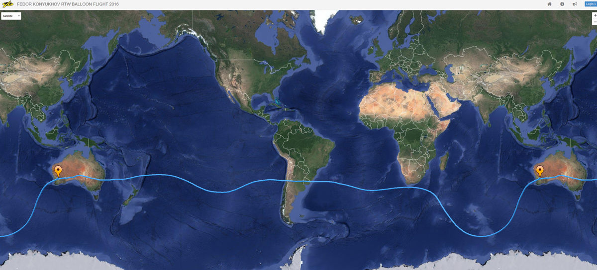 The route flown by Fedor Konyukhov on his record breaking solo round the world flight.