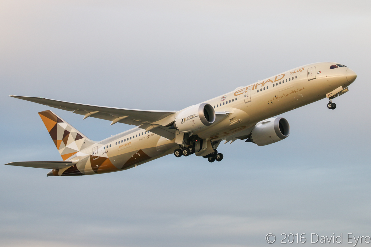 A6-BLH Boeing 787-9 DreamLiner (MSN 39653/452) of Etihad at Perth Airport – Thu 28 July 2016. First visit to Perth. This trip to Perth was its first revenue service. Taking off from runway 21 at 5:10pm as EY487 to Abu Dhabi. This aircraft was new at the time of this photo - first flown on 7 July 2016 at Everett, Washington, USA, delivered 23-24 July 2016. Photo © David Eyre