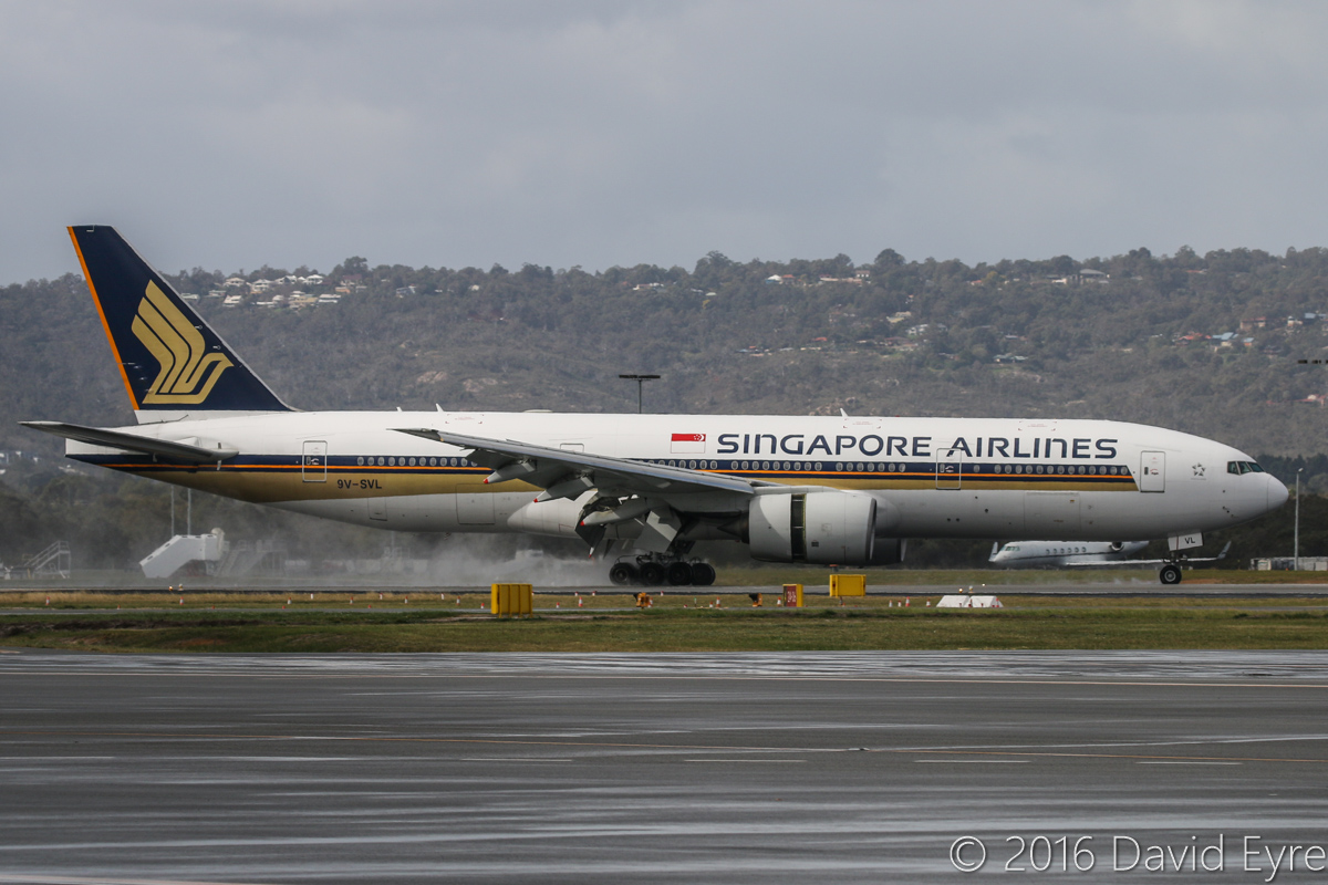 9V-SVL Boeing 777-212ER (MSN 32336/422) of Singapore Airlines, at Perth Airport - Sun 31 July 2016. SQ213 from Singapore, landing on runway 21 at 12:37pm. Photo © David Eyre