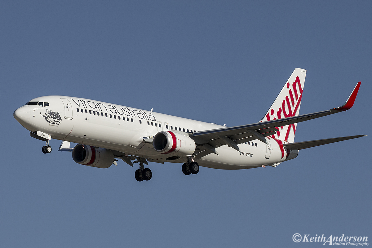 VH-YFW Boeing 737-8FE (MSN 41037) of Virgin Australia at Perth Airport – 1 August 2016.