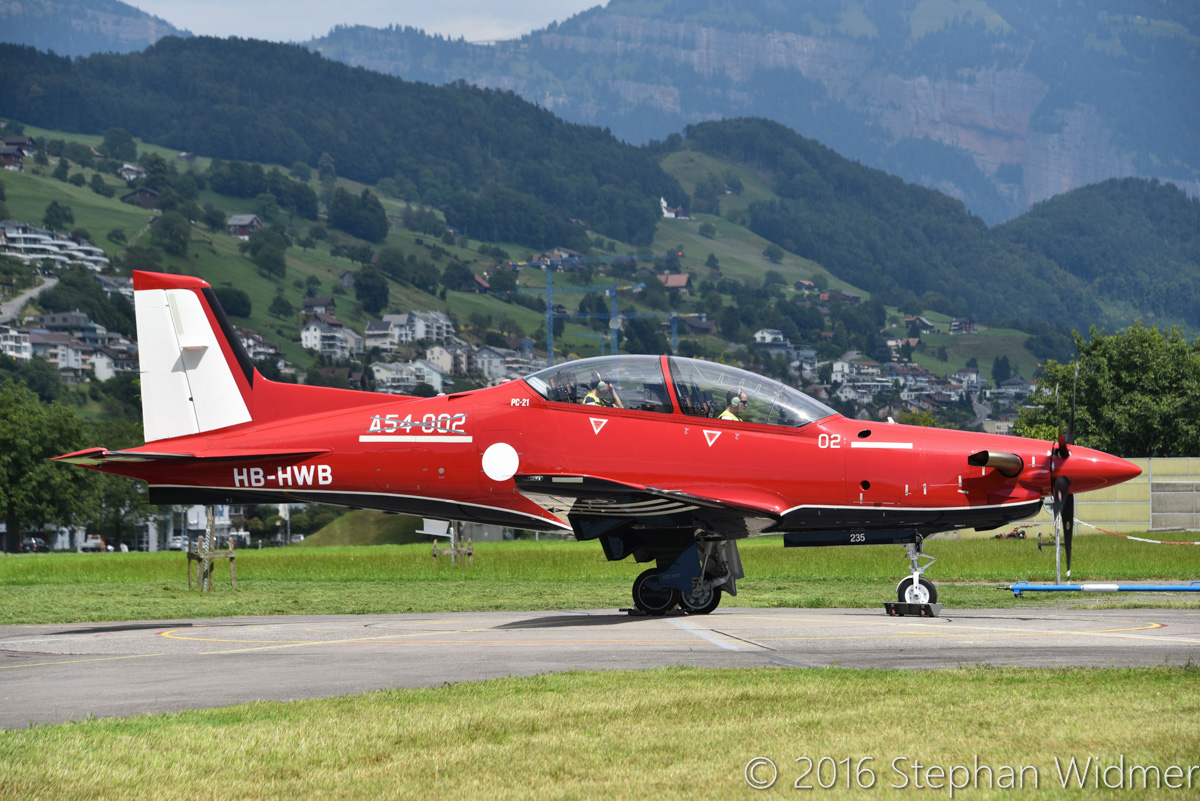 A54-002 / HB-HWB Pilatus PC-21 (MSN 235) of the Royal Australian Air Force at Stans, Switzerland - Wed 3 August 2016. Undergoing final tests at Pilatus facility in Stans, Switzerland, prior to its first flight. Photo © Stephan Widmer - used with permission