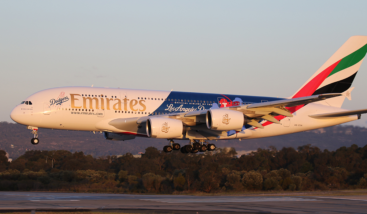 A6-EON Airbus A380-861 (MSN 188) of Emirates at Perth Airport – 20 July 2016.