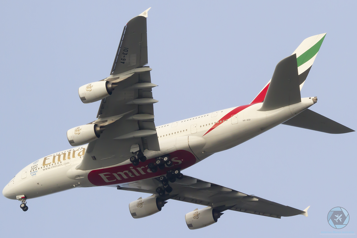 A6-EDI Airbus A380-861 (MSN 28) of Emirates at Perth Airport – 7 August 2016.