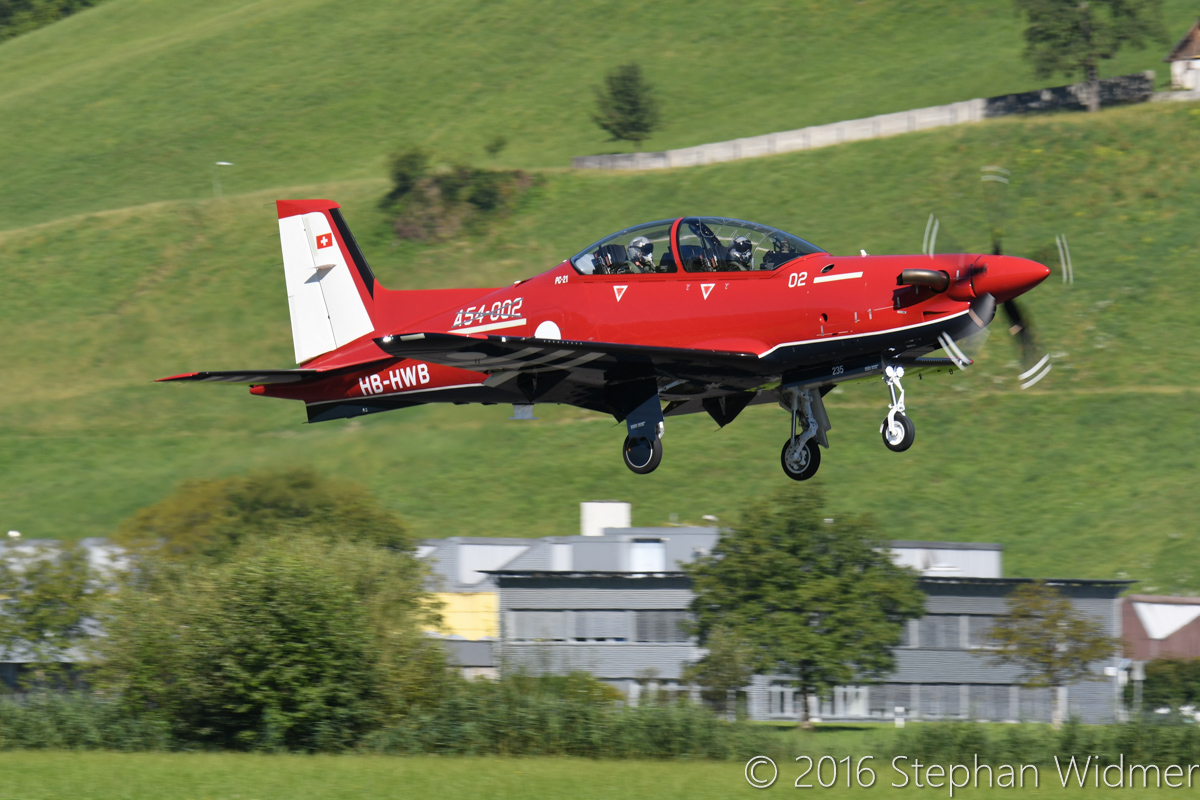 A54-002 / HB-HWB Pilatus PC-21 (MSN 235) of the Royal Australian Air Force at Stans, Switzerland - Mon 8 August 2016. Taking off on its first flight at the Pilatus facility in Stans, Switzerland. Photo © Stephan Widmer - used with permission