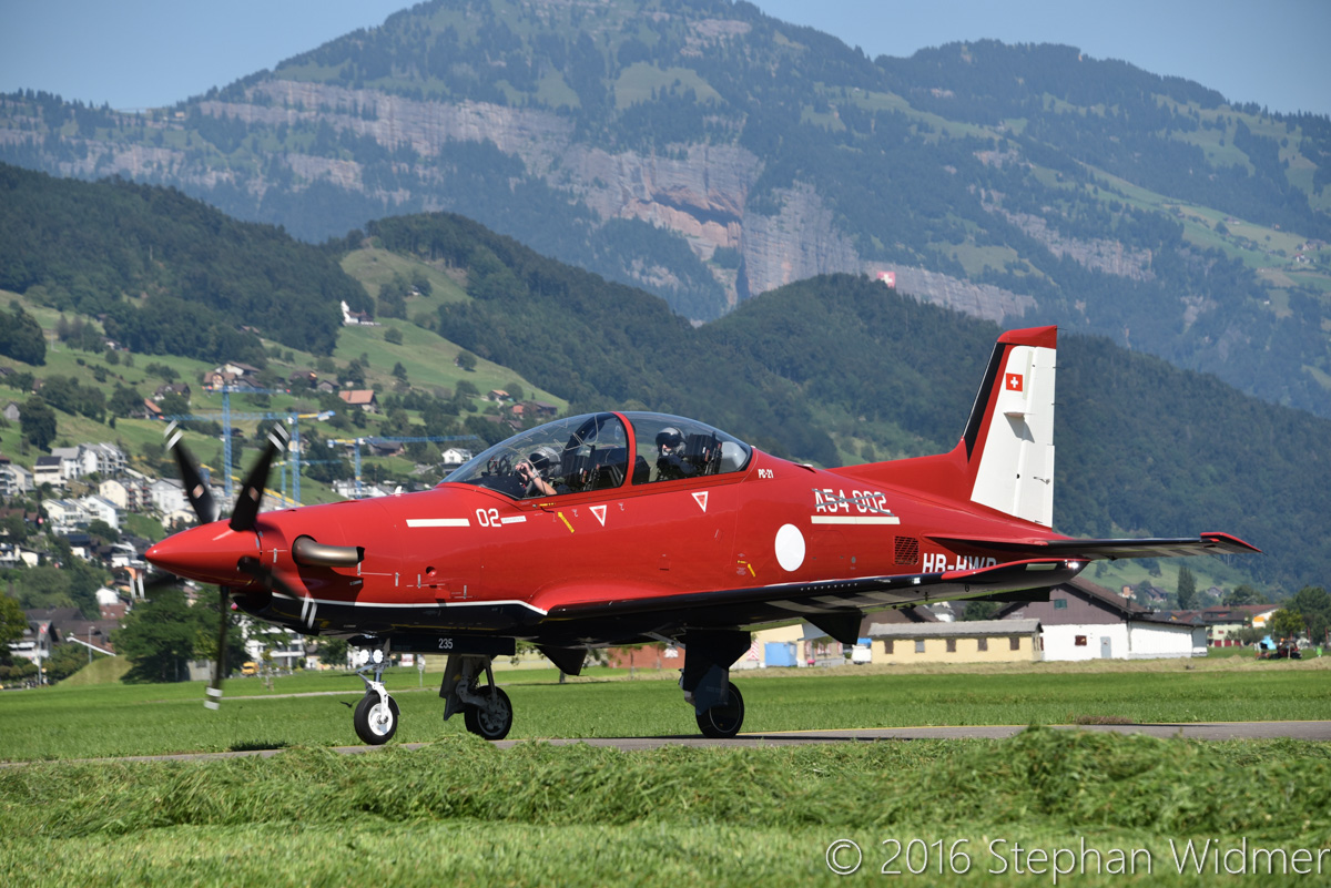 A54-002 / HB-HWB Pilatus PC-21 (MSN 235) of the Royal Australian Air Force at Stans, Switzerland - Mon 8 August 2016. Taxying in after its first flight at the Pilatus facility in Stans, Switzerland. Photo © Stephan Widmer - used with permission