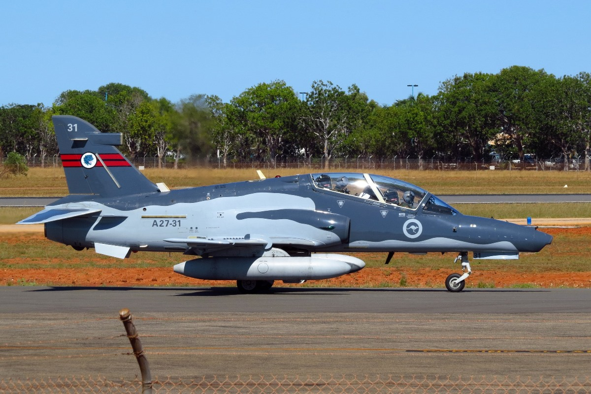 A27-31 Bae Systems Hawk 127 (MSN DT31) of 79 Squadron, RAAF at Broome Airport – 10 August 2016.