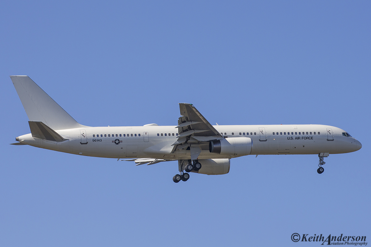 99-6143 Boeing C-32B (757) of United States Air-Force at Perth Airport – 12 August 2016.
