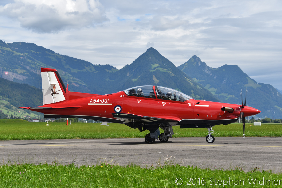 A54-001 Pilatus PC-21 (MSN 234) of the Royal Australian Air Force, in 2 FTS markings, at Stans, Switzerland - Fri 12 August 2016. Taking off for an air-to-air photo shoot, now with the tail markings of 2 FTS (which is based at RAAF Base Pearce) and minus its Swiss registration HB-HWA. Photo © Stephan Widmer