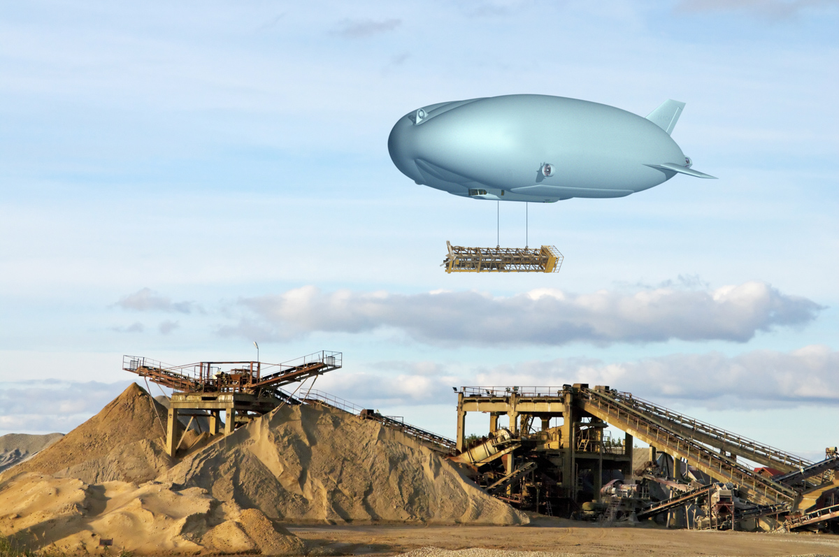 Airlander 50 hybrid airship transporting mining equipment Artist impression © Hybrid Air Vehicles