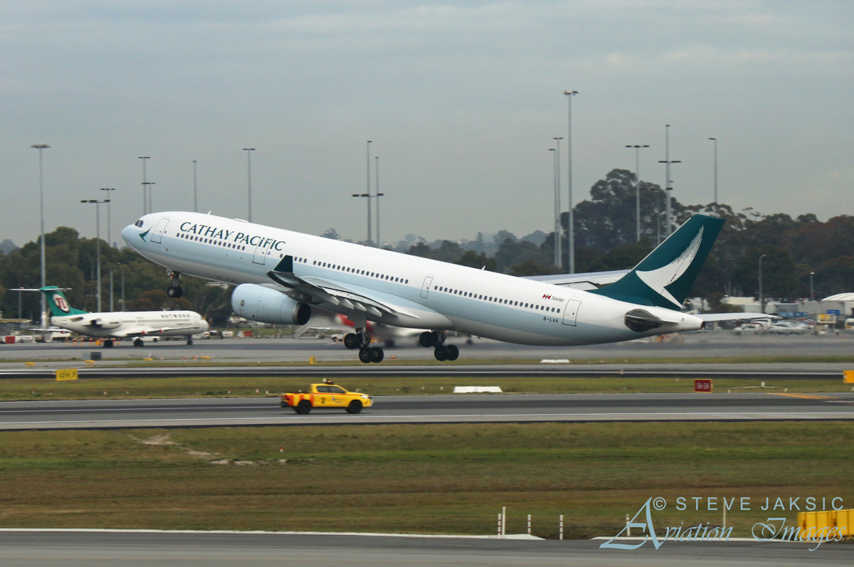 B-LAK Airbus A330-343X (MSN 1196) of Cathay Pacific, at Perth Airport – Fri 2 September 2016. Wearing Cathay Pacific's new livery, taking off from runway 24 at Perth Airport (due to resurfacing work on runway 21) at 7:55am as CX136 to Hong Kong. Photo © Steve Jaksic