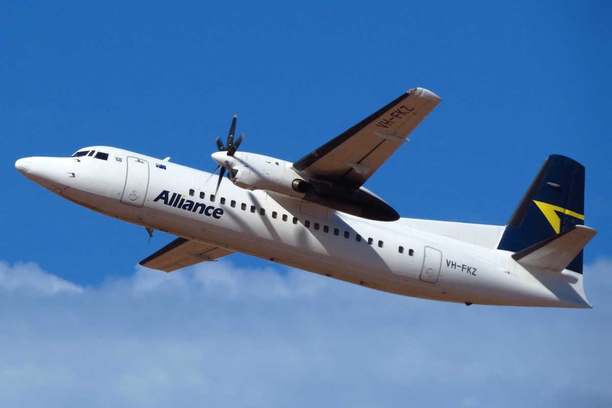 VH-FKZ Fokker 50 (MSN 20286) of Alliance Airlines at Broome Airport – 22 September 2016