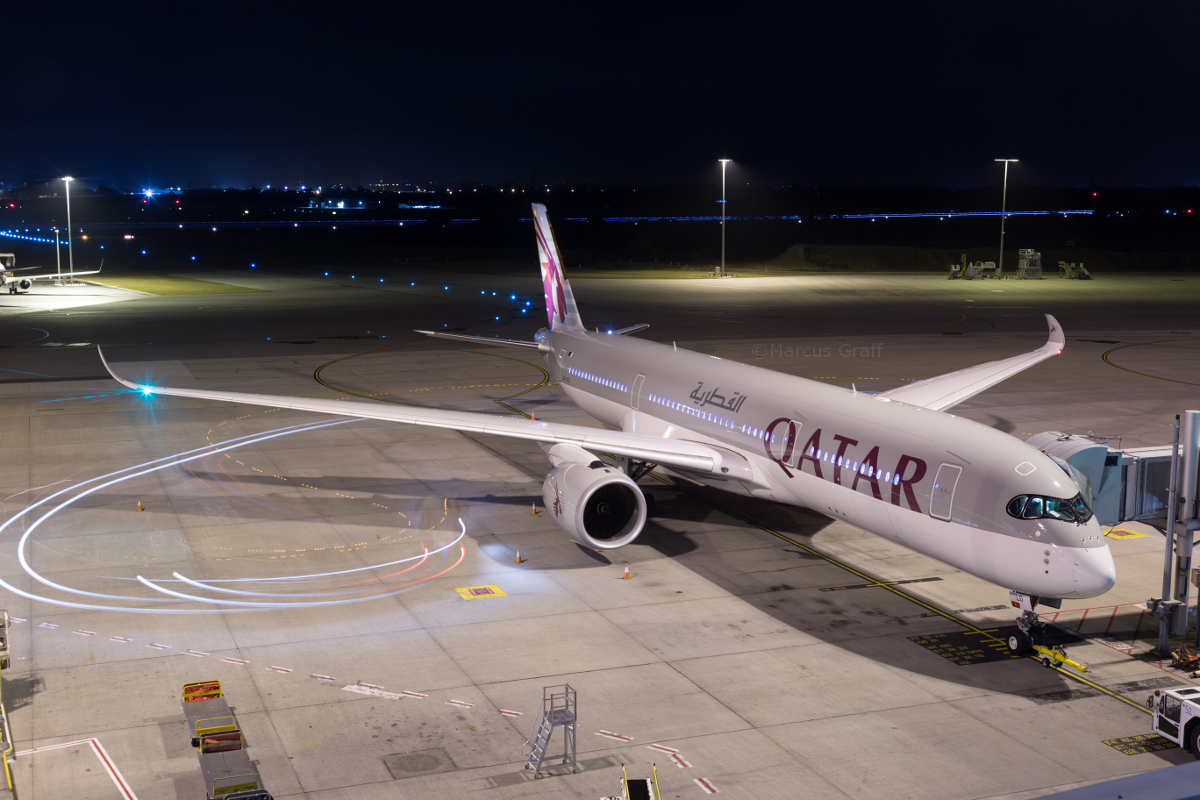 A7-ALD Airbus A350-941 (MSN 010) of Qatar Airways, at Perth Airport - Fri 9 September 2016. The second A350 ever to visit Perth - flight QR915 was en-route from Adelaide to Doha and when off the northwest coast around 189km north of Karratha, it made a medical emergency diversion to Perth to offload a passenger who was ill. It arrived at 1:17am, and is seen here at Bay 153 at 1:57am. It departed Perth at 4:01am to continue its journey to Doha. Photo © Marcus Graff