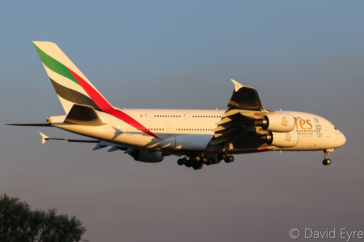 A6-EEK Airbus A380-861 (MSN 132) of Emirates, at Perth Airport - Wed 14 September 2016. Flight EK420 from Dubai, on final approach to Perth Airport's runway 21 at 5:34pm. Photo © David Eyre