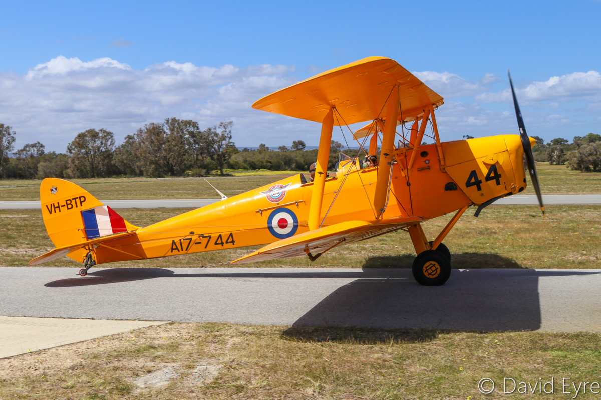 VH-BTP / A17-744 De Havilland DH-82A Tiger Moth (MSN DHA1075/T315) owned by Clark Rees, at SABC Annual Fly-In, Serpentine Airfield – Sun 25 September 2016. Built in 1944 by De Havilland Aircraft, at Bankstown, NSW. To RAAF in 1944 with serial A17-744. Sold in 1955 and registered as VH-BTP. It was later based at Maylands Aerodrome in Perth. Crashed in 1962 at Carnamah, WA and the registration was cancelled in 1963. Following a rebuild, it was registered again in 1988 as VH-BTP. Photo © David Eyre