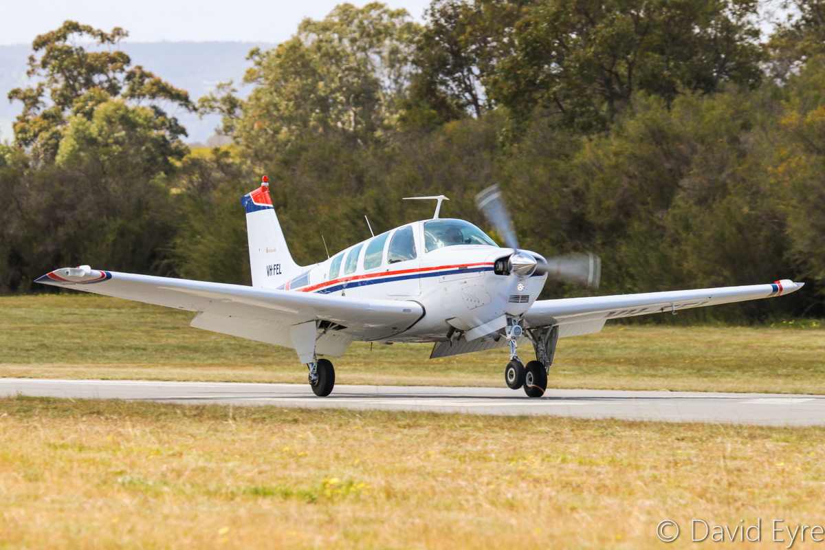 VH-FEL Beech Bonanza A36 (MSN E-916) operated by Nevan Pavlinovich, at SABC Annual Fly-In, Serpentine Airfield – Sun 25 September 2016. Built in 1976, ex N1557L. Photo © David Eyre