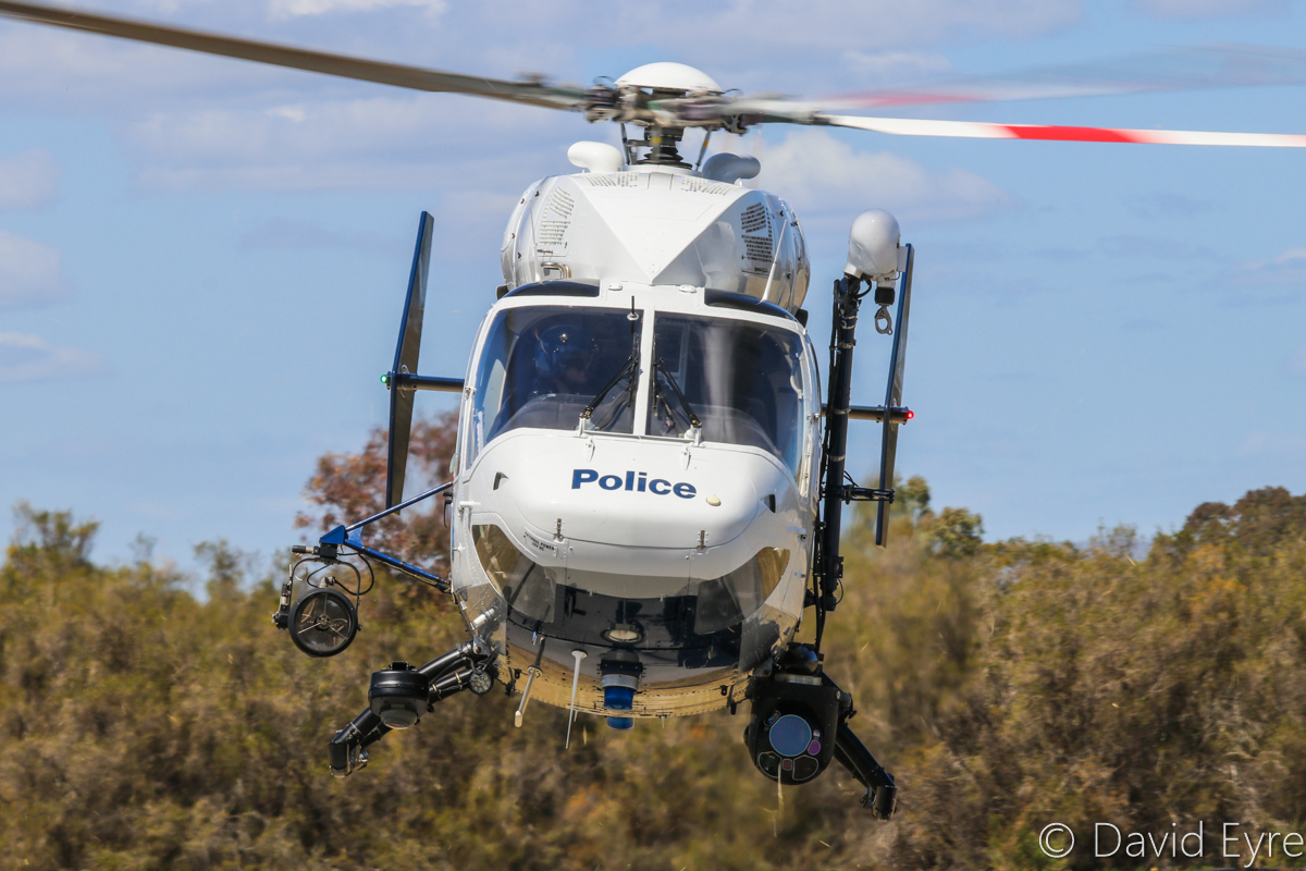 "VH-WAH MBB-Kawasaki BK117B-2 (MSN 1051) of the WA Police Air Wing, at SABC Annual Fly-In, Serpentine Airfield – Sun 25 September 2016. Callsign ""POLAIR 61″, based at Jandakot. Used for police patrol, high-speed pursuits, surveillance, search and rescue and officer deployment. Fitted with a Star Safire III FLIR unit with downlink capabilities, Avalex digital recorder, Avalex moving map system, Wulfsberg tactical radio, Nitesun search light and double lift 600lb rescue winch. Built in 1990, ex JA6607. Photo © David Eyre"
