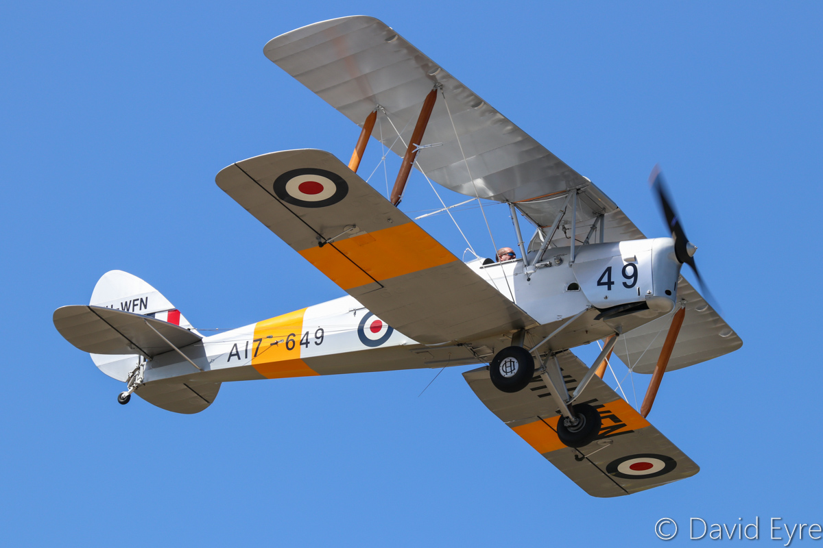 VH-WFN / A17-649 De Havilland DH-82A Tiger Moth (MSN DHA799) owned by William Dearle, at SABC Annual Fly In, Serpentine Airfield – Sun 25 September 2016. Built in 1942 by De Havilland Aircraft at Bankstown, NSW. Originally built for South Africa as DX742, but delivered to the RAAF as A17-649. Sold by RAAF and became VH-RNO on 10 June 1955 with Royal Newcastle Aero Club. Re-registered VH-WFN on 15 Aug 1959 to Aero Service Pty Ltd, it was based at the former Maylands Aerodrome in Perth. It has had a number of owners, accidents and rebuilds in subsequent years. Photo © David Eyre