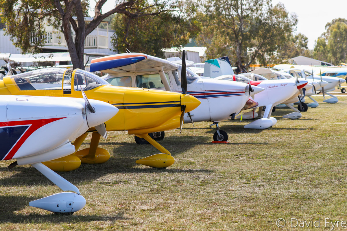 Aircraft lined up on the grass along the western end of the taxiway at SABC Annual Fly-In, Serpentine Airfield – Sun 25 September 2016. Photo © David Eyre