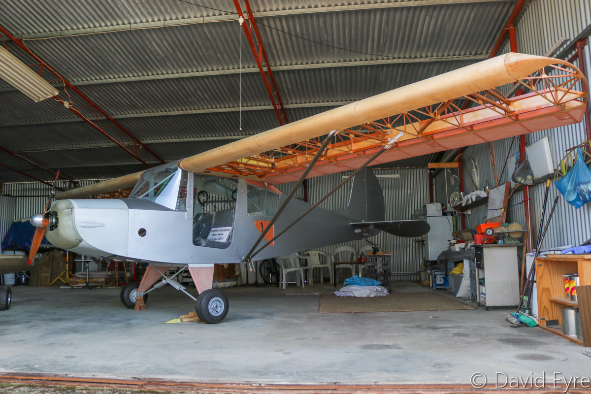 RagWing RW11 Rag-A-Bond owned by Les Fullwood, under construction at Serpentine Airfield - Sun 25 September 2016. A replica of the Piper PA-15 Vagabond, the Rag-a-Bond was designed by Roger Mann and is sold as plans by RagWing Aircraft Designs. Photo © David Eyre