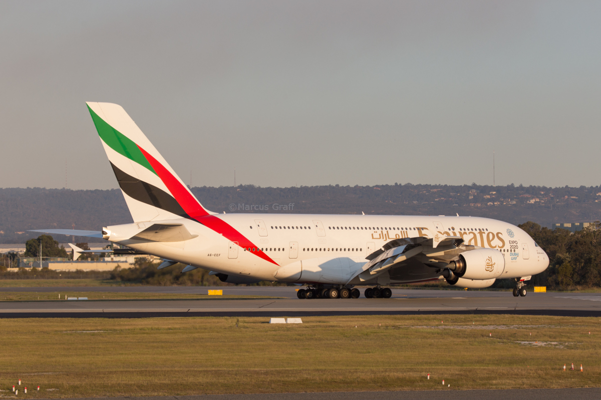 A6-EEF Airbus A380-861 (MSN 113) of Emirates, at Perth Airport - Tue 11 October 2016. Flight EK420 from Dubai, landing on runway 21 at 5:36pm. It rolled the full length of the runway. Photo © Marcus Graff