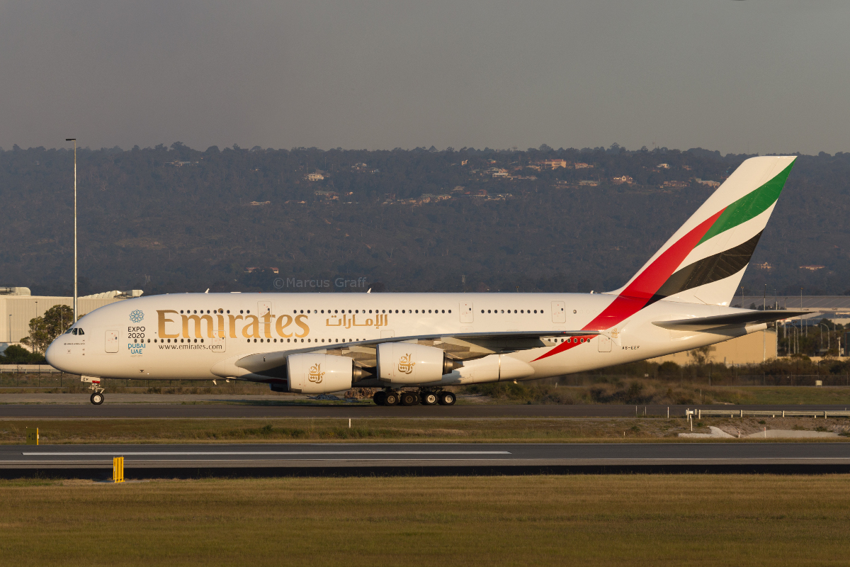 A6-EEF Airbus A380-861 (MSN 113) of Emirates, at Perth Airport - Tue 11 October 2016. Flight EK420 from Dubai, taxying to Terminal 1 after landing on runway 21 at 5:36pm. It rolled the full length of the runway. Photo © Marcus Graff