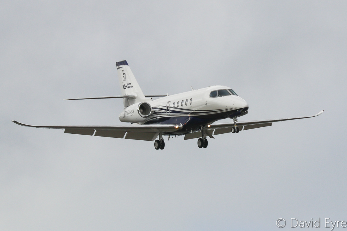 N613CL Cessna 680A Citation Latitude (MSN 680A-0013) owned by Cessna Aircraft Co, Wichita, Kansas, USA, at Perth Airport - Fri 14 October 2016. On final approach to runway 21 at 3:52pm, arriving from Jakarta-Halim for a sales demonstration tour. The Latitude is based on the Citation Sovereign, but is cheaper, has 9 seats and Pratt & Whitney Canada PW306D turbofans. The prototype first flew in February 2014. This one was built in June 2016. Photo © David Eyre