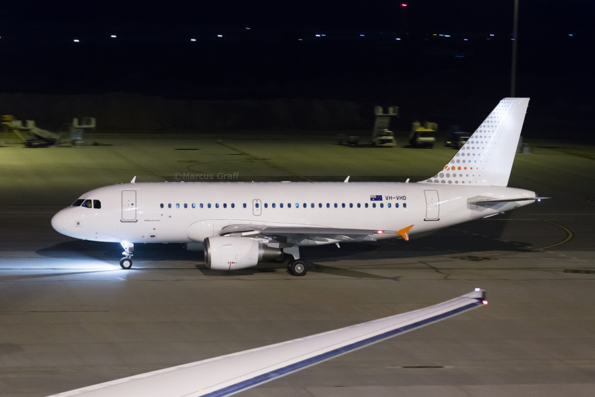 "VH-VHD Airbus A319-115CJ (MSN 1999) of Skytraders, at Perth Airport – Sat 15 October 2016. ""SNOWBIRD 1"", taxiing out to depart to Melbourne at 10:13pm, possibly on a Government charter flight. Photo © Marcus Graff"