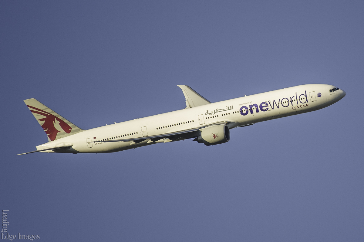 A7-BAG Boeing 777-3DZER (MSN 37662/849) named 'Littoriya', of Qatar Airways, in Oneworld livery, turning over the swan valley to join finals for runway 21 at Perth Airport – 27 October 2016.