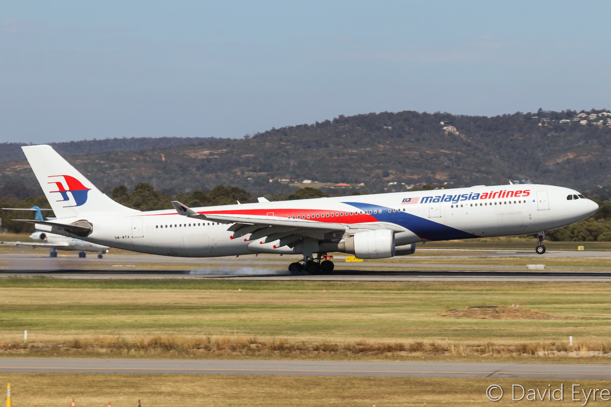 9M-MTA Airbus A330-323X (MSN 1209) of Malaysia Airlines, at Perth Airport – Fri 28 October 2016. Flight MH125 from Kuala Lumpur, landing on runway 21 at 2:44pm. Photo © David Eyre