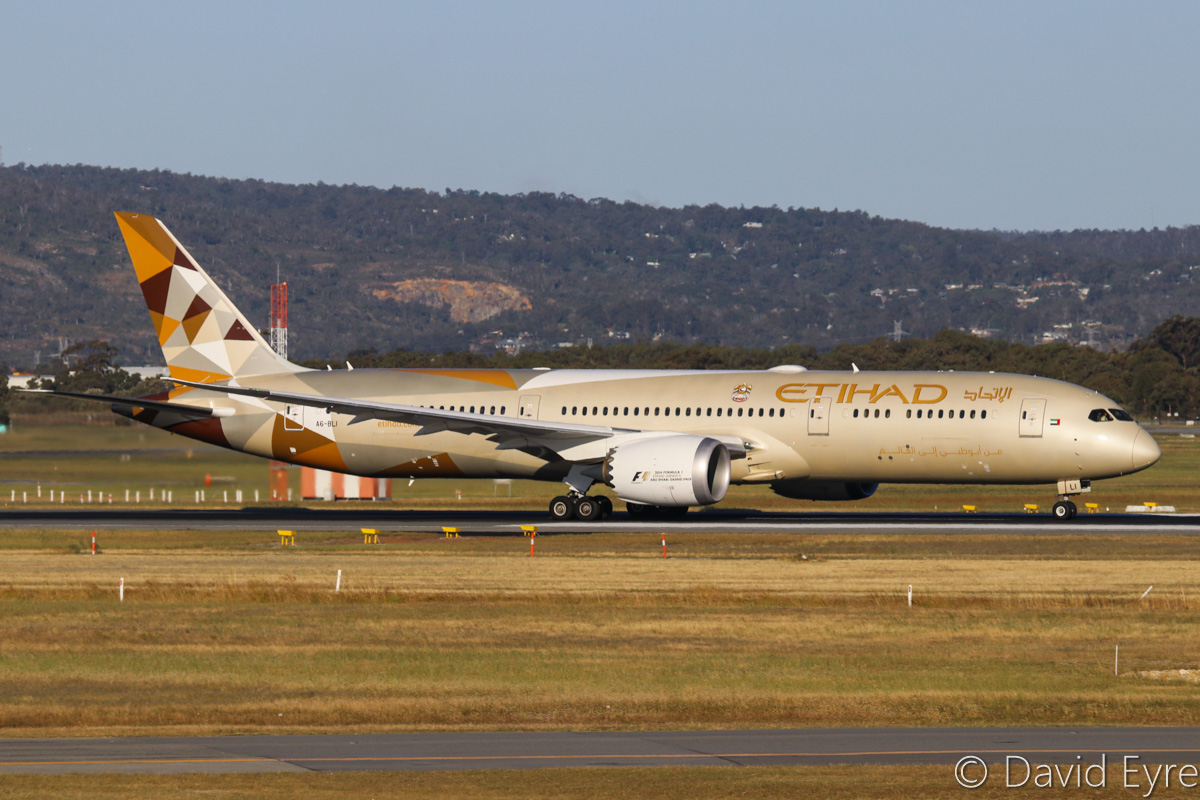 A6-BLI Boeing 787-9 Dreamliner (MSN 39655/459) of Etihad, at Perth Airport - Fri 28 October 2016. Taking off from runway 21 at 5:10pm as EY487 to Abu Dhabi. Photo © David Eyre