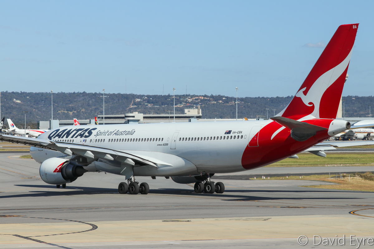 VH-EBA Airbus A330-202 (MSN 508) of Qantas, named 'Cradle Mountain', at Perth Airport - Fri 28 October 2016. QF566 to Sydney, taxying out to runway 21 at 3:25pm. Photo © David Eyre