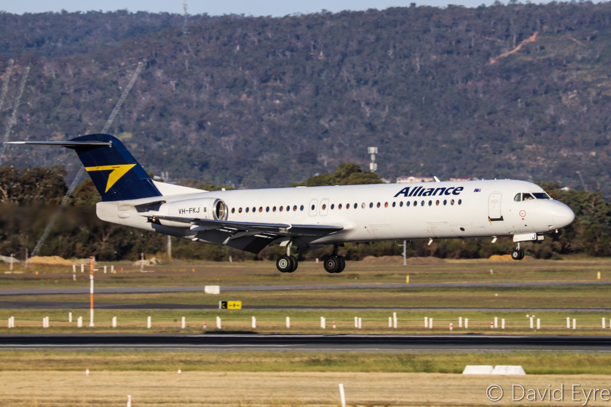 VH-FKJ Fokker 100 (MSN 11372) of Alliance Airlines, at Perth Airport - Fri 28 October 2016. Flight QQ6045 from Barimunya, landing on runway 21 at 5:30pm. Photo © David Eyre