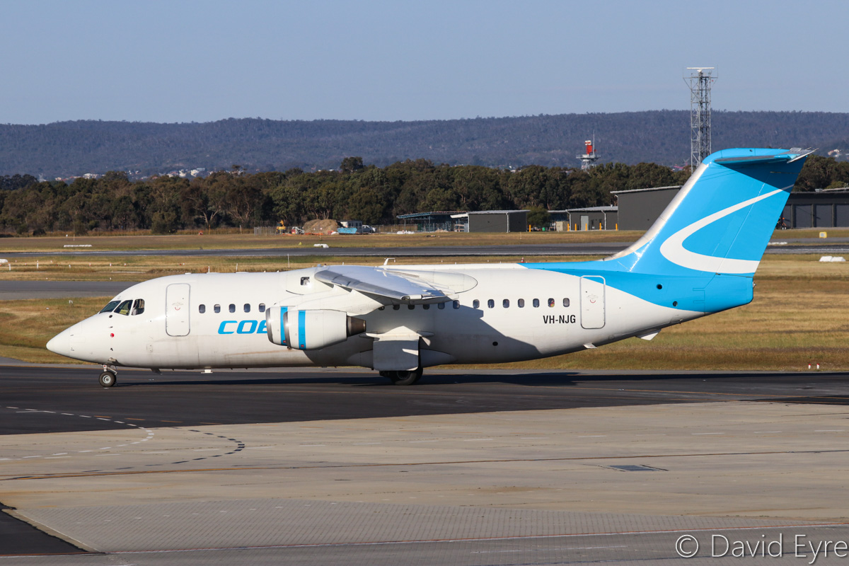 VH-NJG British Aerospace 146-200 (MSN E2170) of Cobham Aviation at Perth Airport - Fri 28 October 2016. Taxying in at 5:02pm as JETEX 725 from Karara iron ore mine. Photo © David Eyre