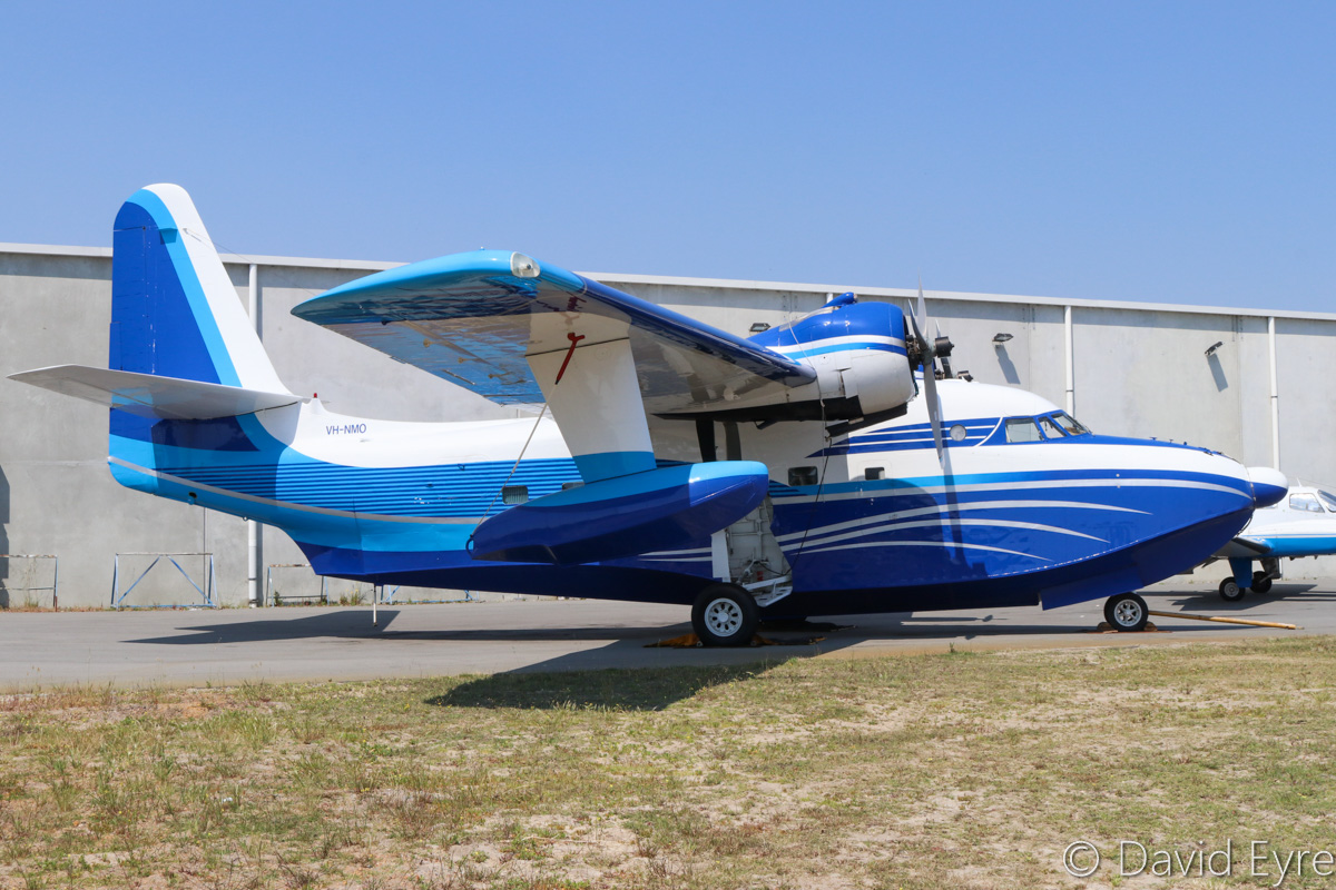 VH-NMO Grumman G-111 Albatross (MSN G-464) of Catalina Airlines Pty Ltd, at Jandakot Airport – Fri 28 October 2016. This was the last Grumman Albatross built. A total of 418 Grumman Albatross aircraft were built between 1947 and 1961. Built in 1961, ex Bu No 148329, 9056 (JMSDF), N88999, PK-PAM, N26PR, N42MY. Since arriving at Jandakot in April 2012, it only made a few flights in February 2013. With a maximum take-off weight of 13882kg, it exceeds the weight limits for operation from Jandakot, and had to apply for special dispensation to be parked here. The owner, Mack McCormack, initially planned to base the Albatross in Broome and use the aircraft to fly tourist and charter flights in and around the Kimberley region of Western Australia. Mr McCormack later announced that he intended to begin flying boat flights Perth's Swan River to the Abrolhos Islands, off the coast of Geraldton from April 2013, with operations to be expanded into the Kimberley region later. Despite some promotional flights from Geraldton to the Abrolhos Islands in February 2013, the aircraft has since remained on the ground at Jandakot Airport. Recently moved to a different parking spot, it is now parked near Casair's hangar. It is soon to move to Queensland, as there was apparently too much State Government red tape in trying to launch large seaplane operations here in Western Australia. Photo © David Eyre