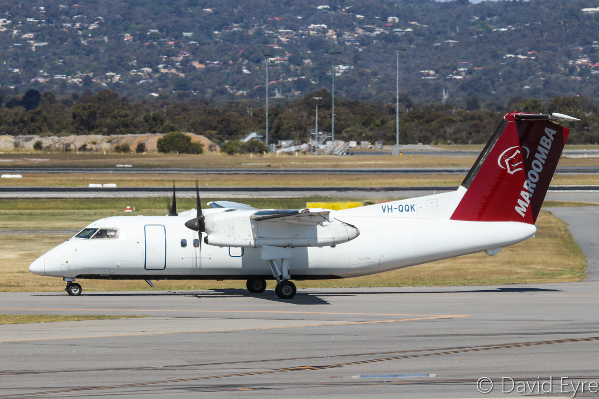 VH-QQK De Havilland Canada DHC-8-102 Dash 8 (MSN 326) of Maroomba Airlines, at Perth Airport - Fri 28 October 2016. Taxying in at 2:28pm after arriving from Golden Grove mine. Photo © David Eyre