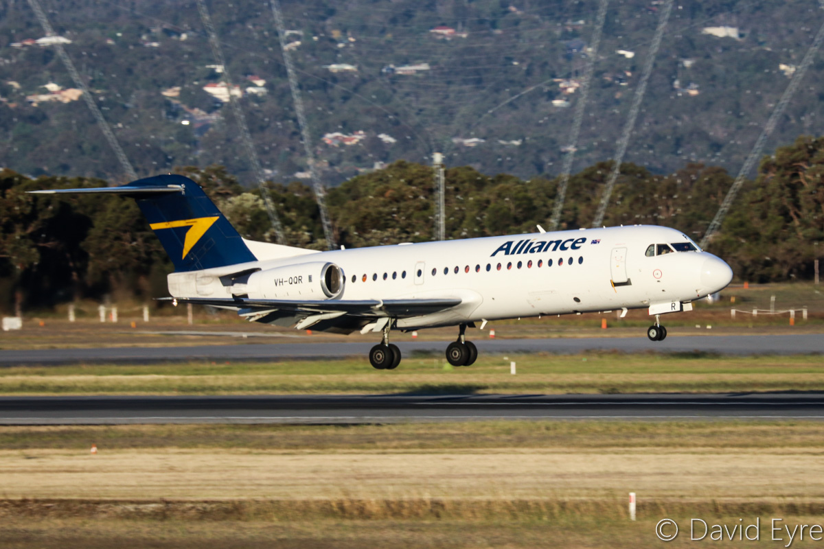 VH-QQR Fokker 70 (MSN 11564) of Alliance Airlines at Perth Airport – Fri 28 October 2016. QQ6079 from Coondewanna, landing on runway 21 at 5:58pm. Photo © David Eyre