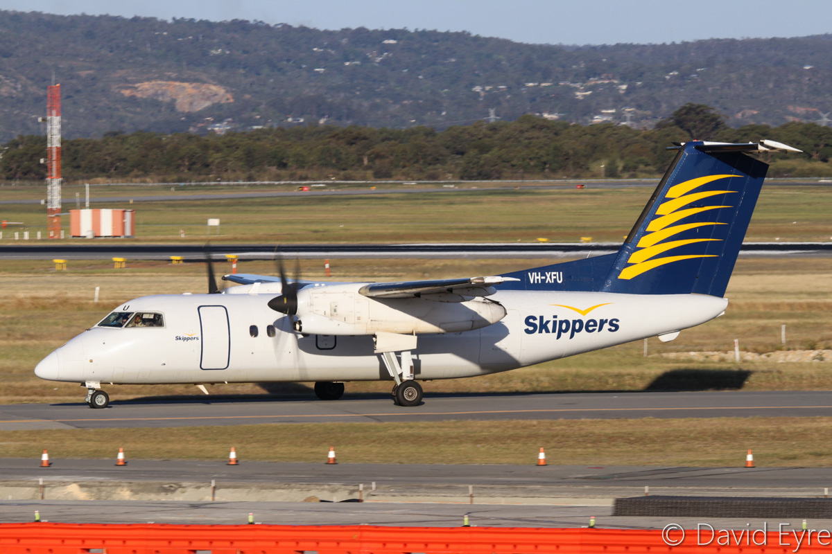VH-XFU De Havilland Canada DHC-8-102 Dash 8 (MSN 151) of Skippers Aviation, at Perth Airport– Fri 28 October 2016. Taxying in at 5:34pm, arriving on a FIFO flight from Laverton. Photo © David Eyre