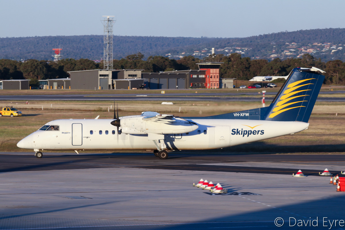 VH-XFW De Havilland Canada DHC-8-314 Dash 8 (MSN 356) of Skippers Aviation, at Perth Airport - Fri 28 October 2016. Arriving back from Leonora at 6:10pm. Photo © David Eyre