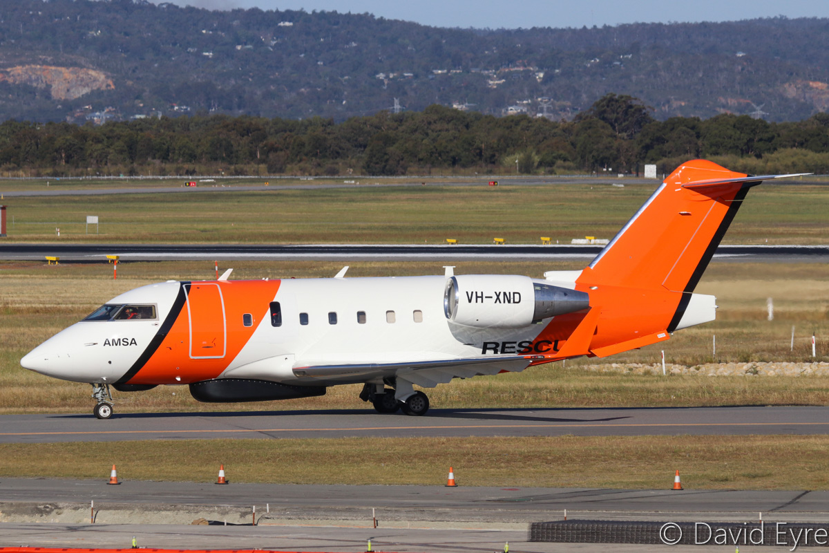 VH-XND Bombardier CL-600-2B16 Challenger 604 (MSN 5634) owned by Cobham SAR Services Pty Ltd, operated for the Australian Maritime Safety Authority (AMSA), at Perth Airport - Fri 28 October 2016. Used for search and rescue. The long radome under the forward fuselage is a multi mode search radar, whilst the smaller fairing just in front of it contains a search and rescue direction finder. It will also soon be fitted with an electro-optical turret just behind the main wheel bays. Built in 2005, ex C-FKUL, N336FX, C-GLXY. Photo © David Eyre