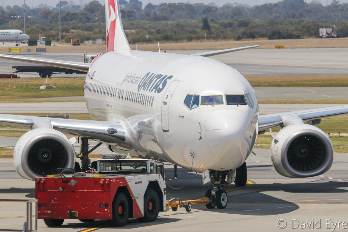 VH-XZA Boeing 737-838 (MSN 39367/4150) of Qantas, named 'Leeton', at Perth Airport - Fri 28 October 2016. Flight QF592 to Adelaide, pushing back for engine start from Bay 12 (Gate 12), Terminal 4, seen from the right side of Gate 13. Photo © David Eyre