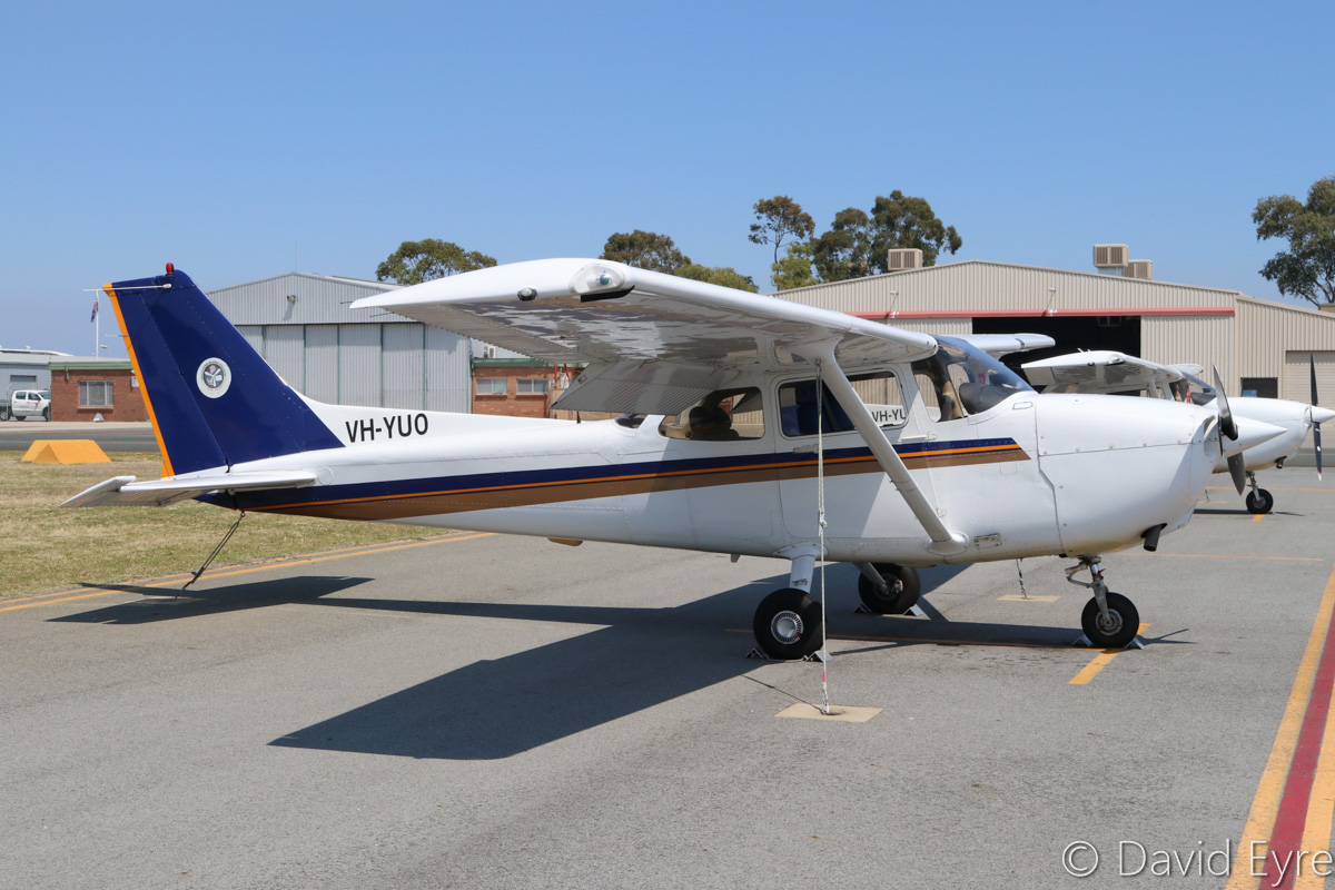 VH-YUO Cessna 172R Skyhawk (MSN 17281234) owned by Singapore Flying College Pte Ltd, at Jandakot Airport - Fri 28 October 2016. Built in 2004 and registered VH-YUO in March 2016, this is one of a number of analogue cockpit Cessna 172Rs previously based in Singapore. Ex 9V-FCG, VH-BZI, N65962. Photo © David Eyre