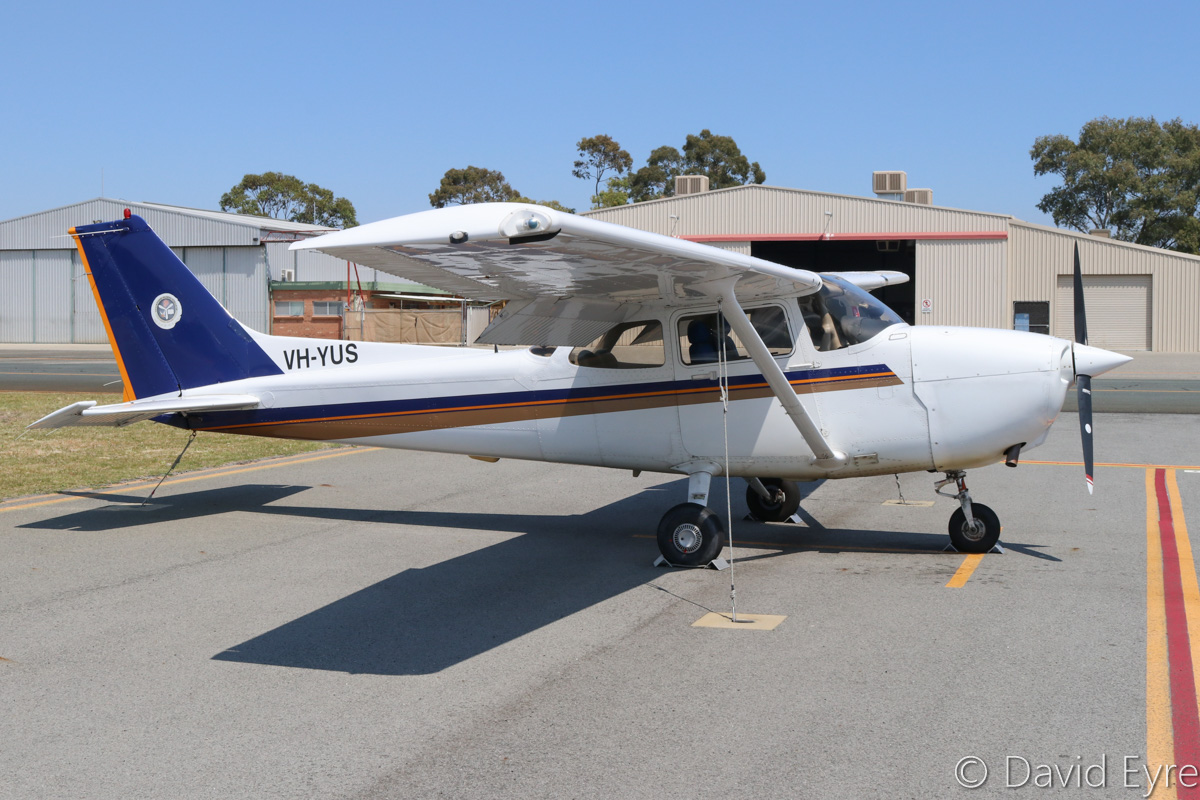 VH-YUS Cessna 172R Skyhawk (MSN 17281235) owned by Singapore Flying College Pte Ltd, at Jandakot Airport - Fri 28 October 2016. Built in 2004 and registered VH-YUS in March 2016, this is one of a number of analogue cockpit Cessna 172Rs previously based in Singapore. Ex 9V-FCH, VH-BZJ, N65963. Photo © David Eyre