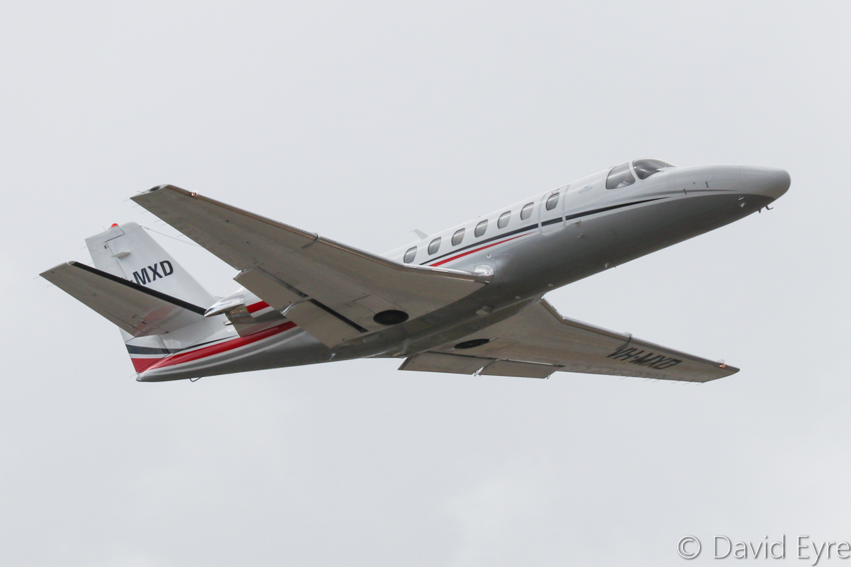 VH-MXD Cessna 560 Encore+ (MSN 560-0807) of Maxem Aviation at Perth Airport – Sat 29 October 2016. Taking off from runway 24 at 9:39am to Degrussa mine. Photo © David Eyre