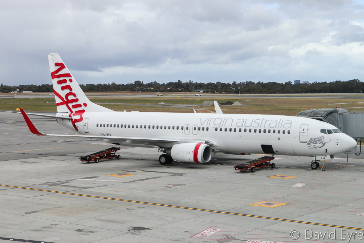 VH-YFE Boeing 737-81D (MSN 39414/3623) of Virgin Australia (leased from AWAS), named 'Sunshine Beach', at Perth Airport – Sat 29 October 2016. Arrived from Adelaide as VA713 at 7:47am, and seen here parked on Bay 147B at Terminal 1 Domestic. It departed at 11:42am as VA1435 to Darwin. Photo © David Eyre